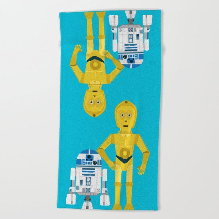 C3P0 and R2D2 vector Beach Towel