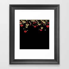 Beautiful glitter shine hearts on black Valentines Day greeting Framed Art Print