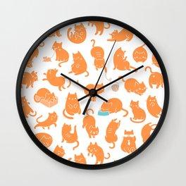 hey orange kitty Wall Clock