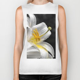 Lily flower covered by raindrops Biker Tank