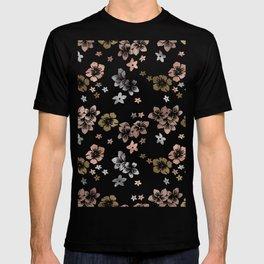 Rose Gold Copper Bronze Tropical Flowers Multi Metallic T-shirt
