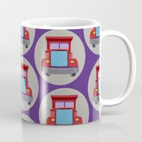 truck Mugs featuring red truck by elvia montemayor
