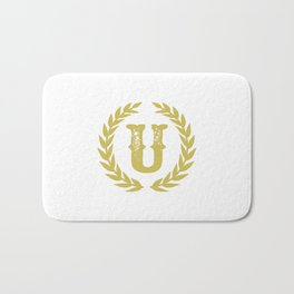 Mustard Yellow Monogram: Letter U Bath Mat