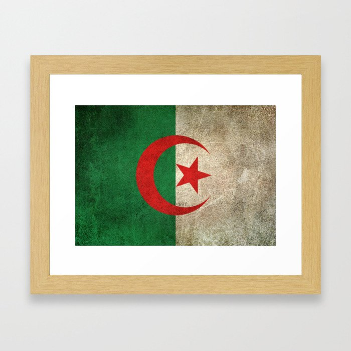 Old and Worn Distressed Vintage Flag of Algeria Framed Art Print