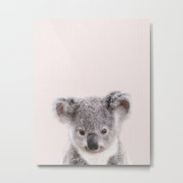 Baby Koala With Pink Background, Baby Animals Art Print By Synplus Metal Print