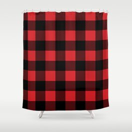 Red and Black Buffalo Plaid Shower Curtain
