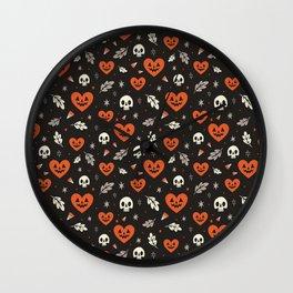I Heart Halloween Pattern (Black) Wall Clock