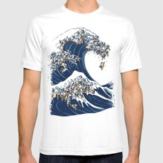 The Great Wave of Pug White Mens Fitted Tee MEDIUM