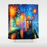 221b Shower Curtains featuring The 10th Doctor who Starry the night Art painting iPhone 4 4s 5 5c 6, pillow case, mugs and tshirt by Three Second