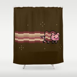 Pig Bacon Pixel Shower Curtain