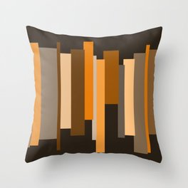 Stripes orange brown Throw Pillow