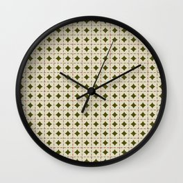 Green Tan Checkered Argyle Wall Clock