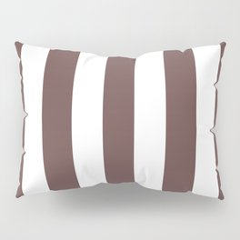 Rose ebony purple - solid color - white vertical lines pattern Pillow Sham