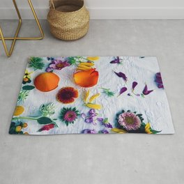 Bouquet of Petals and Flowers Still Life Rug