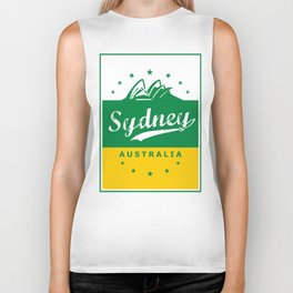 Sydney City, Australia, green yellow, poster Biker Tank