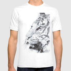 Tiger MEDIUM White Mens Fitted Tee