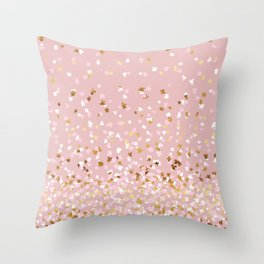 Floating Confetti - Pink Blush and Gold Throw Pillow