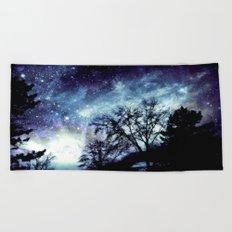 Black Trees Indigo Blue Space Beach Towel