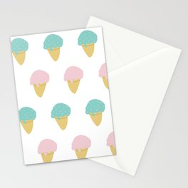 Sprinkle Ice Cream Cone Repeat in Pink + Atomic Mint on White Stationery Cards