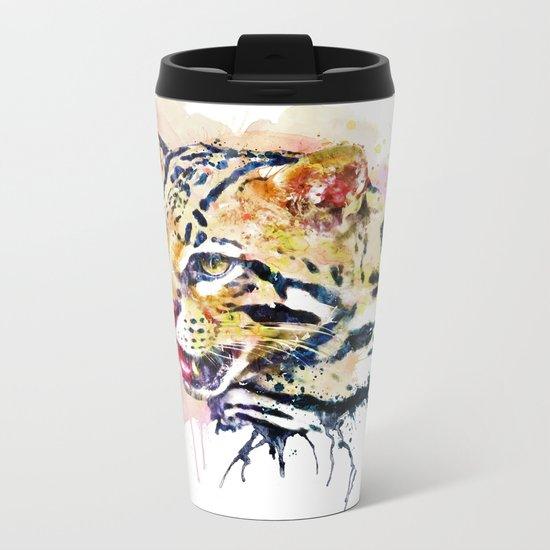 Ocelot Head Metal Travel Mug