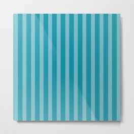 Aqua Blue Stripes Metal Print