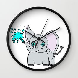 Lovely and funny elephant drawing Wall Clock