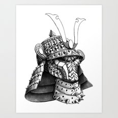 Samurai Helm Art Print