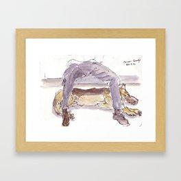 Sleeping Police Dog Framed Art Print