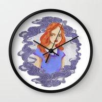lydia martin Wall Clocks featuring Lydia Martin by strangehats