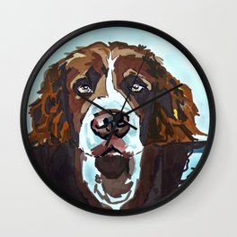 Swimming Dog Portrait Wall Clock