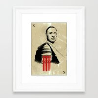 frank underwood Framed Art Prints featuring Frank Underwood House of Cards poster Kevin Spacey print by Lautstarke