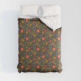 Winter Florals on Black Comforters