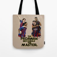 neymar Tote Bags featuring The Padawan Becomes The Master by IremYorukoglu