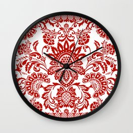 Damask in red Wall Clock