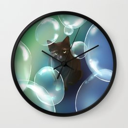 The cat and the bubbles Wall Clock