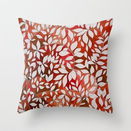 Watercolor with leaves-red Throw Pillow