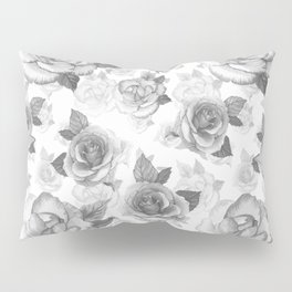 Hand painted black white watercolor roses floral pattern Pillow Sham