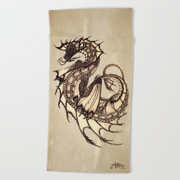"""Tsunami"" by Amber Marine ~ Sea Dragon ~ Graphite & Charcoal Illustration, (Copyright 2005) Beach Towel"