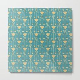 Vintage pastel blue yellow hand painted bohemian tribal arrows Metal Print
