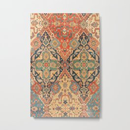 Geometric Leaves VIII // 18th Century Distressed Red Blue Green Colorful Ornate Accent Rug Pattern Metal Print