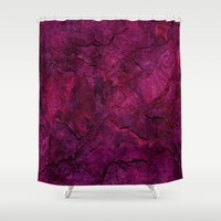 heavy metal Shower Curtains featuring Purple Heavy Metal by Lord Egon Will