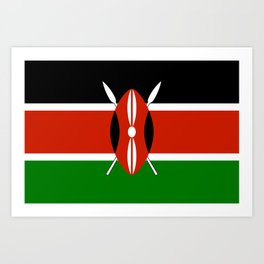 National flag of Kenya - Authentic version, to scale and color Art Print
