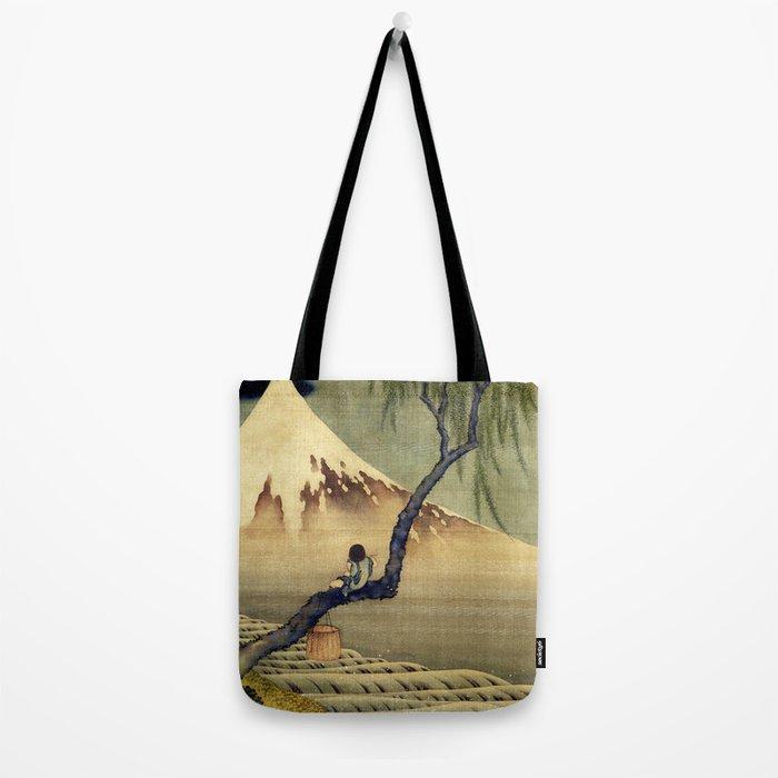 Katsushika Hokusai Boy Viewing Mount Fuji Tote Bag
