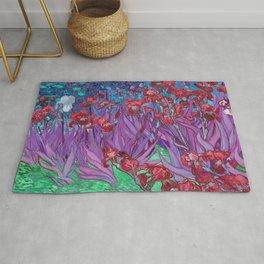 Vincent Van Gogh Irises Painting Cranberry Purple Palette Rug