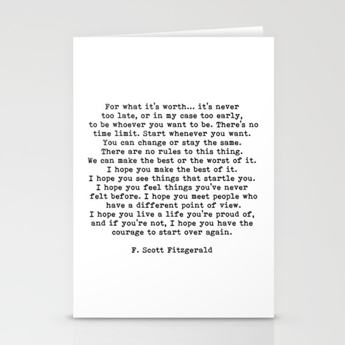 Life quote, For what it's worth, F. Scott Fitzgerald Quote Stationery Cards