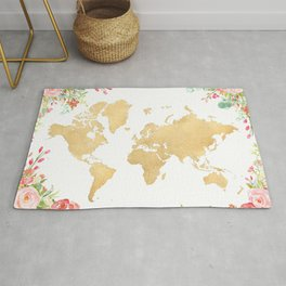 Bohemian world map with watercolor flowers Rug