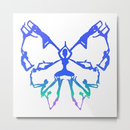 Inspirational Yoga Poses Butterfly Metal Print