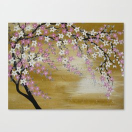 tan brown pink white beige asian tree painting with cherry blossoms japanese art design designs Canvas Print