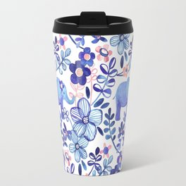Pale Coral, White and Purple Elephant and Floral Watercolor Pattern Travel Mug