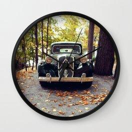Car In Fall Wall Clock